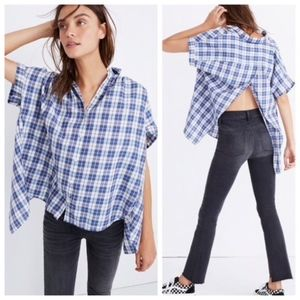 Madewell Plaid Split Back Button Up Cotton Top